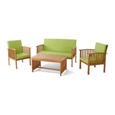 GDF Studio 4-Piece Caresta Outdoor Acacia and Light Green Cushions Sofa Set
