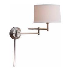 Theta Wall Swing Arm Lamp, Brushed Steel Finish