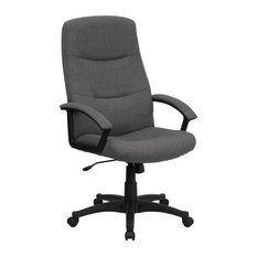 Fabric Swivel Office Chair With High Back, Gray