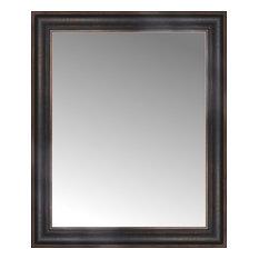 "25""x30"" Custom Framed Mirror, Aged Bronze"