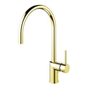 Rhythm Kitchen Mixer Tap, Curved, Brass-Coloured Stainless Steel