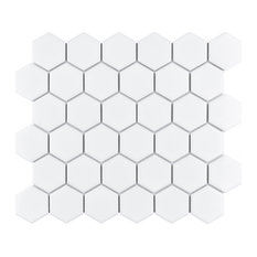 """SomerTile Metro Hex  2"""" Mosaic Floor and Wall Tile, Case of 10, Glossy White"""