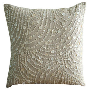 Beige Mother Of Pearls 45x45 Cotton Linen Throw Cushions Cover, Dreams N Pearls