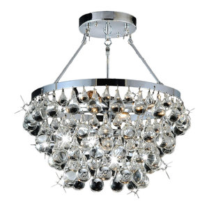 Sparkling Clear Glass Crystal 5-light Luxury Chrome Flash Mount Chandelier