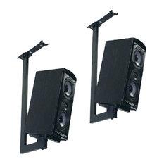 Side-Clamping Bookshelf Speaker Ceiling Mounts With Tilt and Swivel, Set of 2