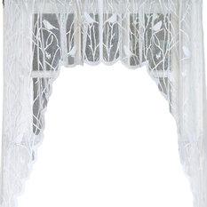 "- Songbird White Lace Kitchen Curtain, 56""x38"" Swag Pair - Valances"