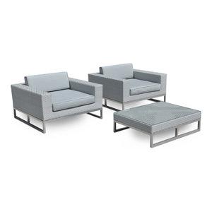Marseille Outdoor Patio Furniture All Weather Wicker 3-Piece Arm Chair Set