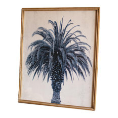 Nature Botanical Navy Blue Coastal Palm Tree Print Tropical Paradise Wall Art