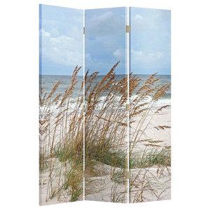 Modern Folding Room Divider With MDF Frame, Single Sided Beach Print Design