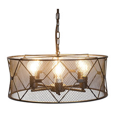 Cage Style 6-Light Drum Chandelier, Black