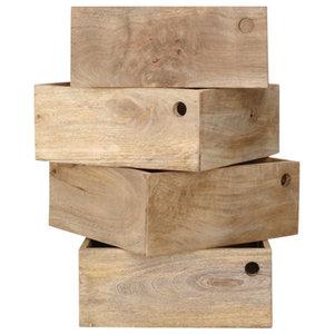 Mango Wood Storage Crates, Set of 4