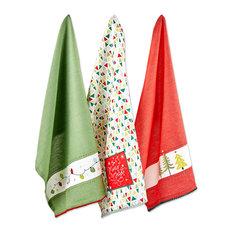 Asst Festive Christmas Embellished Dishtowel, Set Of 3