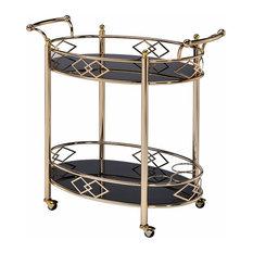 Two Tier Metal Framed Serving Cart W Designer Side Rails and Glass Shelves, Gold