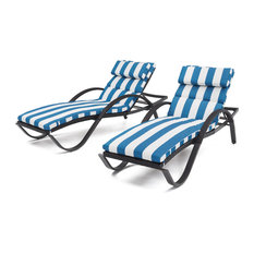 Deco Chaise Lounges Chair, Set of 2 by RST Brands, Blue Stripe