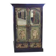 Mogul Interior - Consigned Cabinet Jaipur Distressed Green Mirror Eclectic Furniture Armoire - Armoires and Wardrobes
