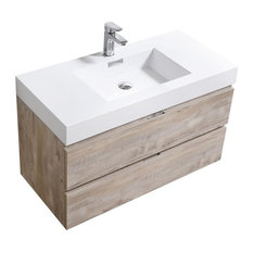 "Bliss 40"" Nature Wood Wall Mount Modern Bathroom Vanity"