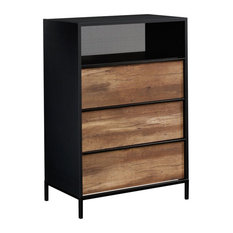 Sauder Boulevard Cafe 3-Drawer Metal Chest In Black With Vintage Oak Accents
