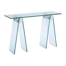 Jetta High Gloss White Lacquer With 1/2 Clear Glass Console Table