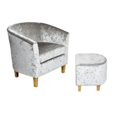 Crushed Velvet Tub Chair and Footstool, Silver