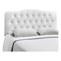 Annabel King Tufted Faux Leather Headboard White