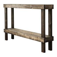 Rustic Luxe Wooden Sofa Table by Del Hutson Designs, Dark Walnut, Dark Walnut, L