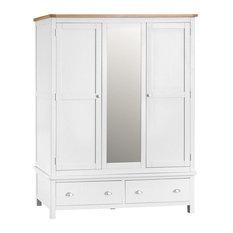 Portland Painted Oak Triple Wardrobe, White