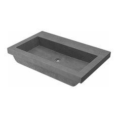 Trough 3019 Concrete Bathroom Sink, Slate, No Faucet Hole
