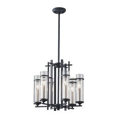 Six Light Clear Glass Antique Forged Iron/Brushed Steel Up Chandelier