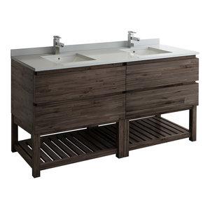 """Formosa Floor Standing Open Bottom Double Sink Modern Bathroom Cabinet, 70"""""""