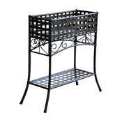 Mandalay Rectangular Iron Plant Stand, Antique Black