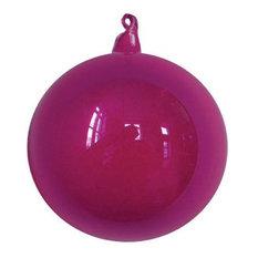 """Designer Glass Ornament, 6-Piece, Fuchsia, 6"""""""