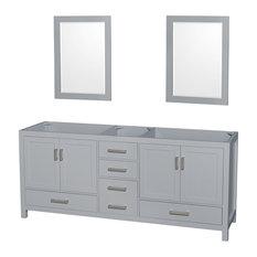 "Sheffield 80"" Gray Double Vanity, 24"" Gray Mirrors, Gray, No Countertop, No Sink"