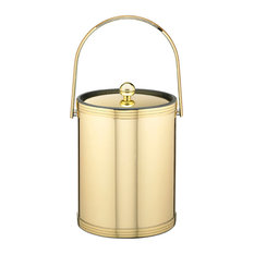 Kraftware Mylar Polished Brass Ice Bucket with Metal Lid, 5 qt.
