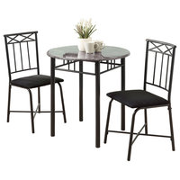 """Monarch Specialties I 3065 Basics (3) Piece """"Small Space"""" Dining Set with (2) U"""