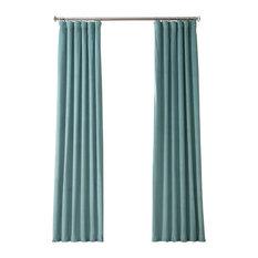 "Signature Blackout Velvet Curtain Single Panel, Skylark Blue, 50""x96"""