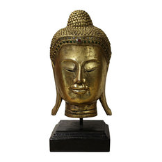 Quality Wood Gold Color Serene Peaceful Meditate Buddha Head On Stand hn270