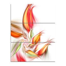 """""""Orange Pink Fractal Floral Shapes"""" Wall Art, 3 Panels, 28""""x36"""""""