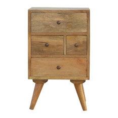 Artisan Furniture - 4-Drawer Petite Bedside Table, Oak Finish Mango Wood - Nightstands and Bedside Tables