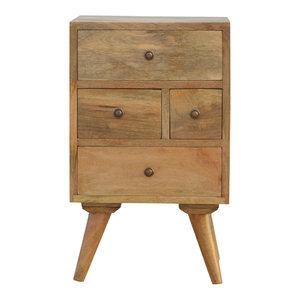 4-Drawer Petite Bedside Table, Oak Finish Mango Wood