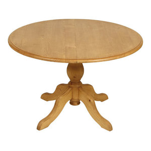 Natural Round Extendable Dining Table, Waxed Natural