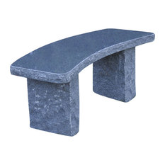 Stone Age Creations Curved Charcoal Granite Stone Boulder Bench