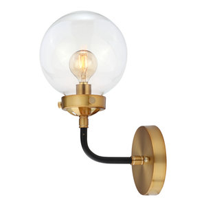"Caleb 1-Light 8"" Brass Wall Sconce, Black and Brass"