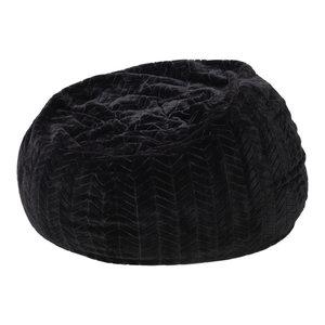 GDF Studio Meridian Black Fur Fabric Bean Bag
