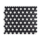 "11.5""x13.25"" Victorian Mini Hex Floor/Wall Tile, Matte Black With White Dot"