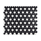 Victorian Mini Hex Porcelain Floor and Wall Tile, Matte Black With White Dot