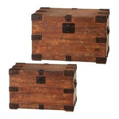 CBK Mdf 2 Piece Set Distressed Brown Rectangle Trunk 136213