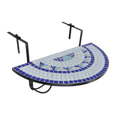 VidaXL Mosaic Balcony Table, Hanging Semi-Circular, Blue White