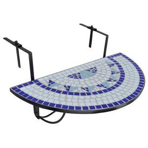 VidaXL Mosaic Balcony Table, Hanging Semi-Circular, Blue White
