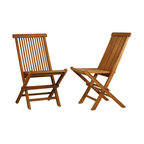 Tanzer Teak Outdoor Folding Chairs, Set of 2