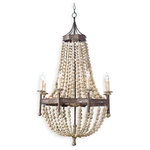 Maroma Coastal Beach Scalloped Wood Bead Metal Chandelier - We love it when traditional design gets an earthy update.  Case in point: this wooden swag draped chandelier.  A matte brown bronze metal base adds a strong antique feeling, perfect for more casual spaces: lodges, lofts and beach cottages.